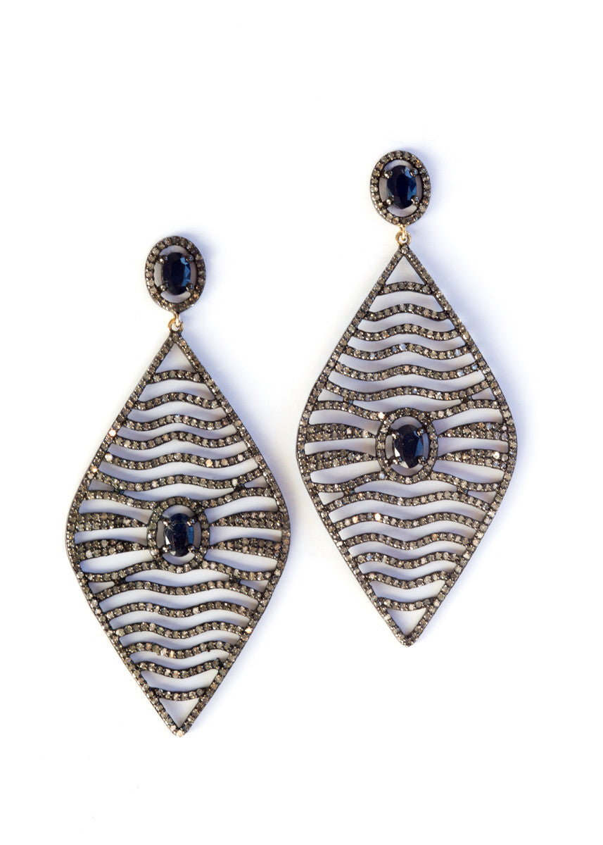Vinesh sapphire and diamond earrings