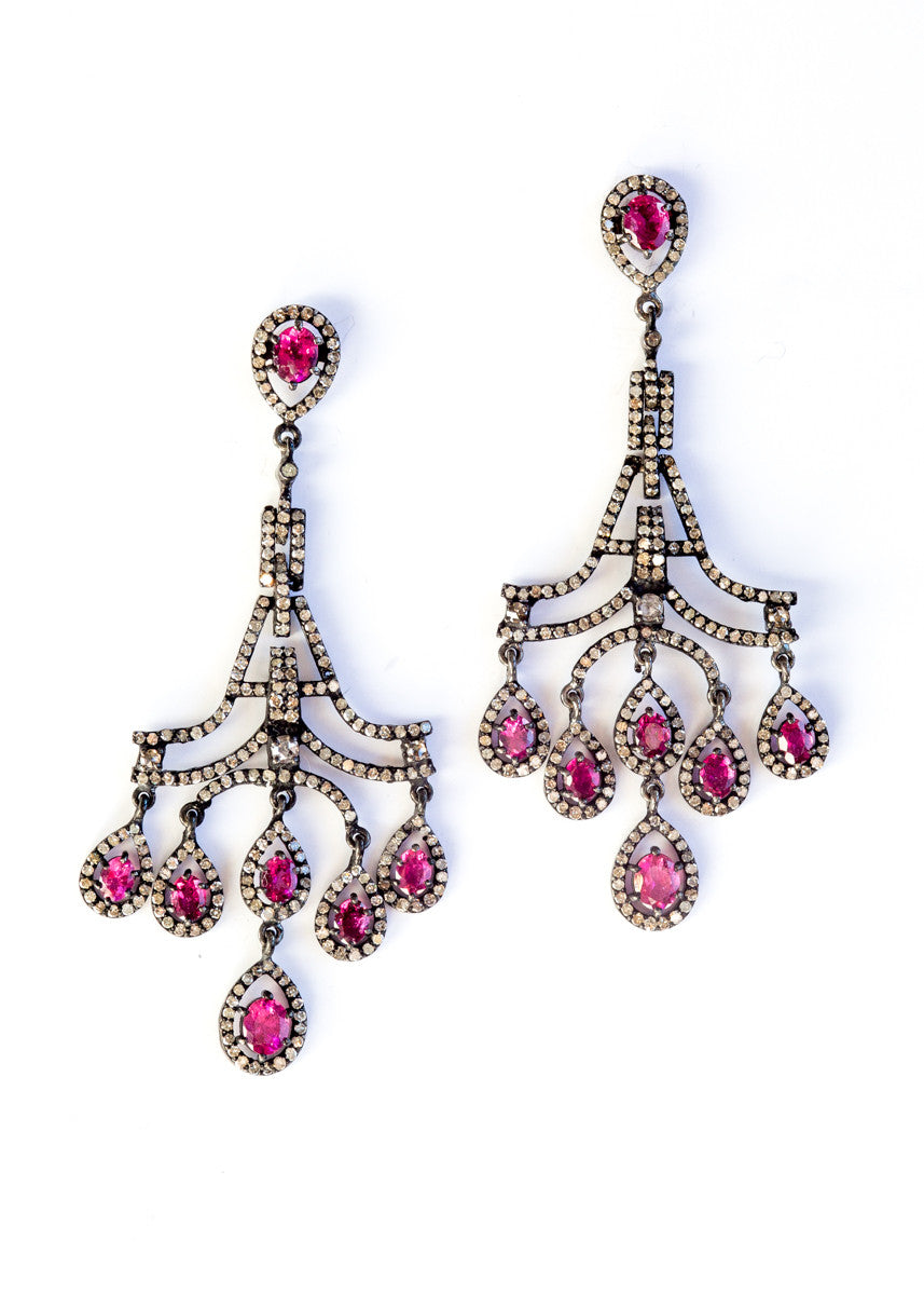 Vinesh diamonds and pink sapphire chandelier earrings