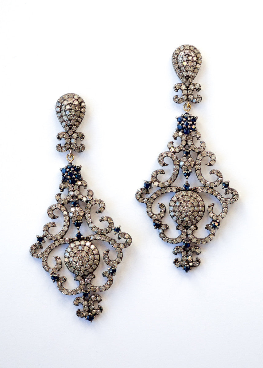Vinesh diamonds and sapphire chandelier earrings