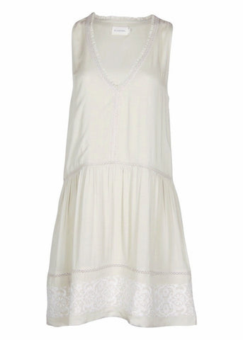 Flannel jack & jill sleeveless embroidered dress stone