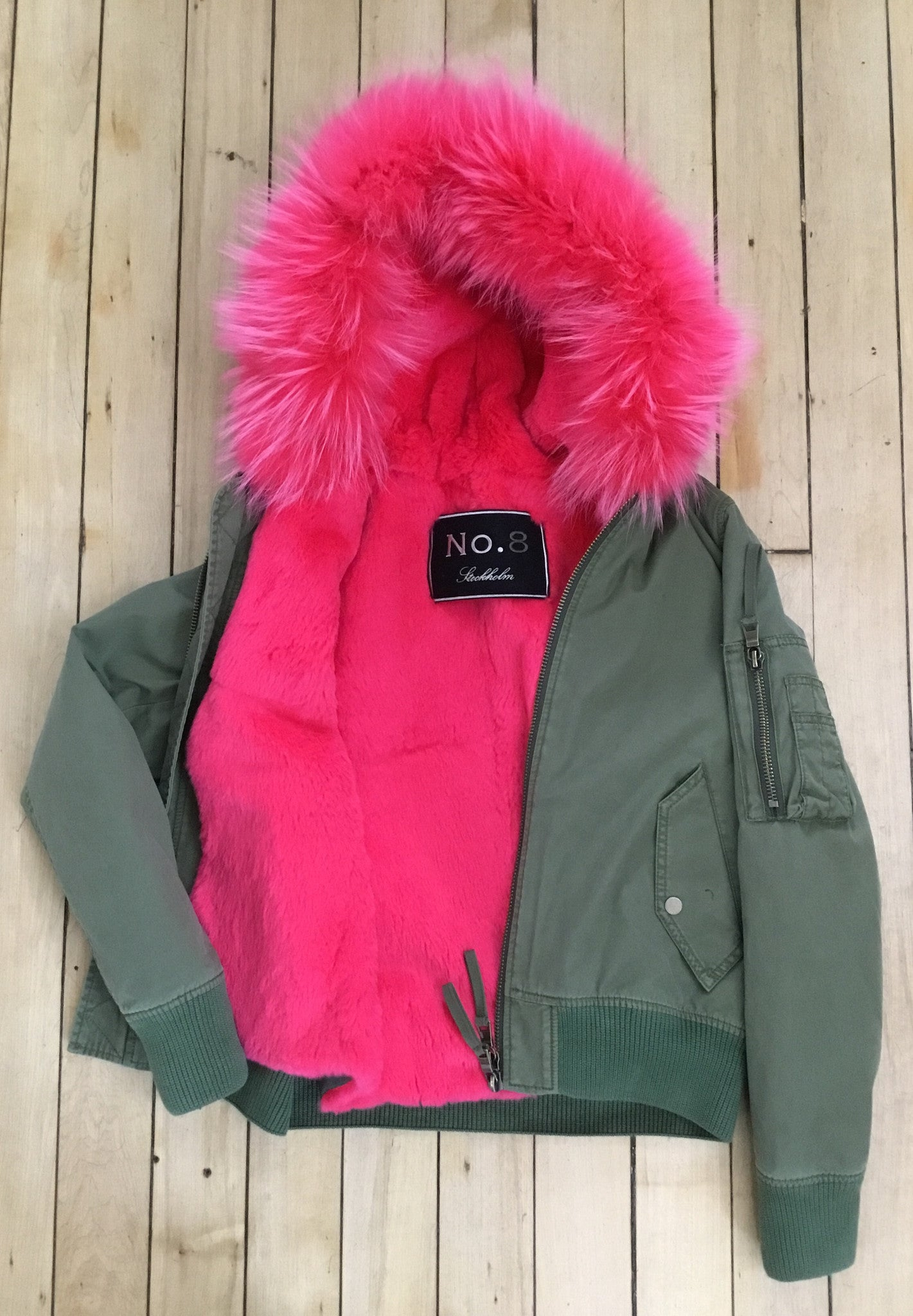 Blonde No. 8 baltimore kaki bomber with hot pink fur