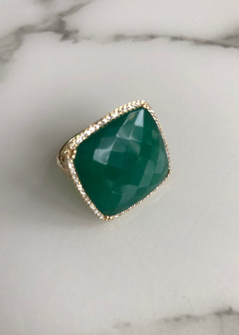 Rocks with Soul Green agate and diamond square cocktail ring