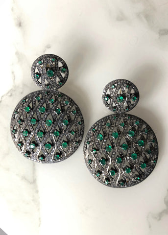 Rocks with Soul Emerald and diamond double circle earrings