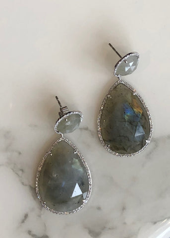 Rocks with Soul Labradorite and Diamond Teardrop Earrings Yellow Gold