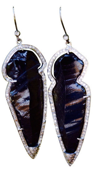 S Carter Designs black obsidian arrowhead earrings