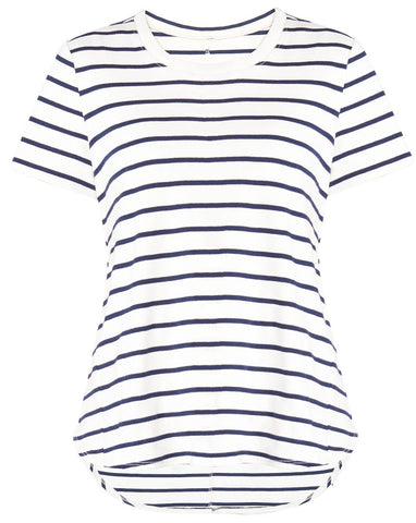 Veronica Beard lauren stripe tee cream navy