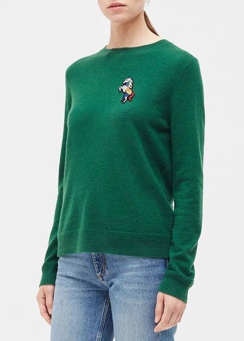 Chinti and Parker Jewelled horse sweater in green
