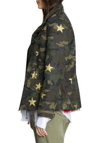 Jocelyn camo field jacket with stars and fox fur multi lining