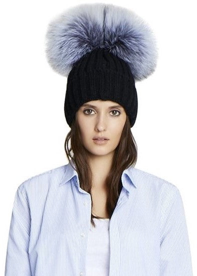 Jocelyn Knit Hat with Double Silver Fox Poms black