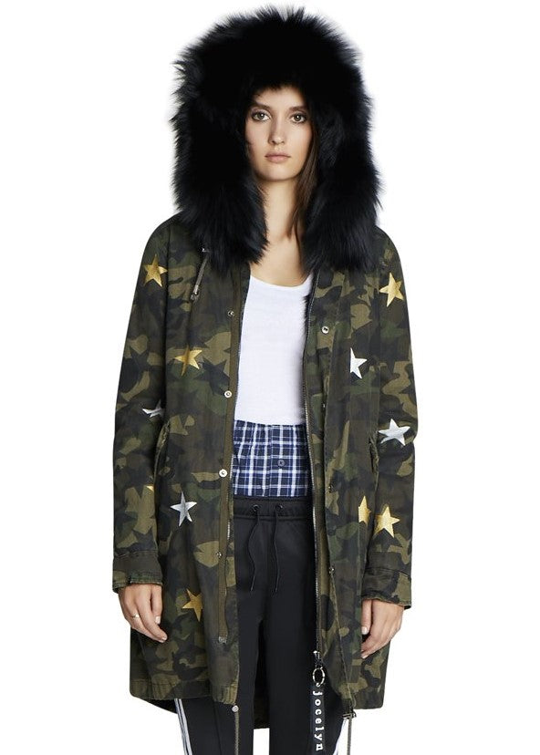 Jocelyn camo hooded coat with stars and fox fur lining