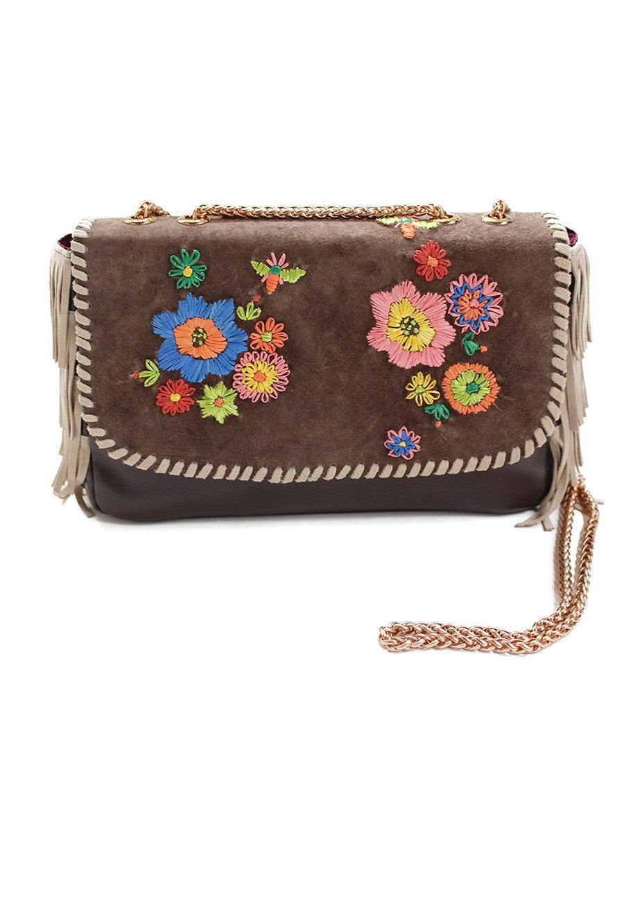 Joey Wolffer raffia flower embroidery suede bag mocha