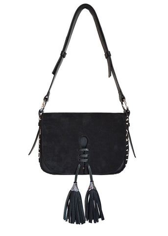 Joey Wolffer medium classic black suede bag