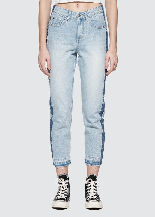 SJYP side two tone straight jeans blue