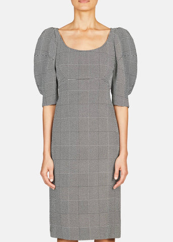 Khaite Beatrice dress in black and white check