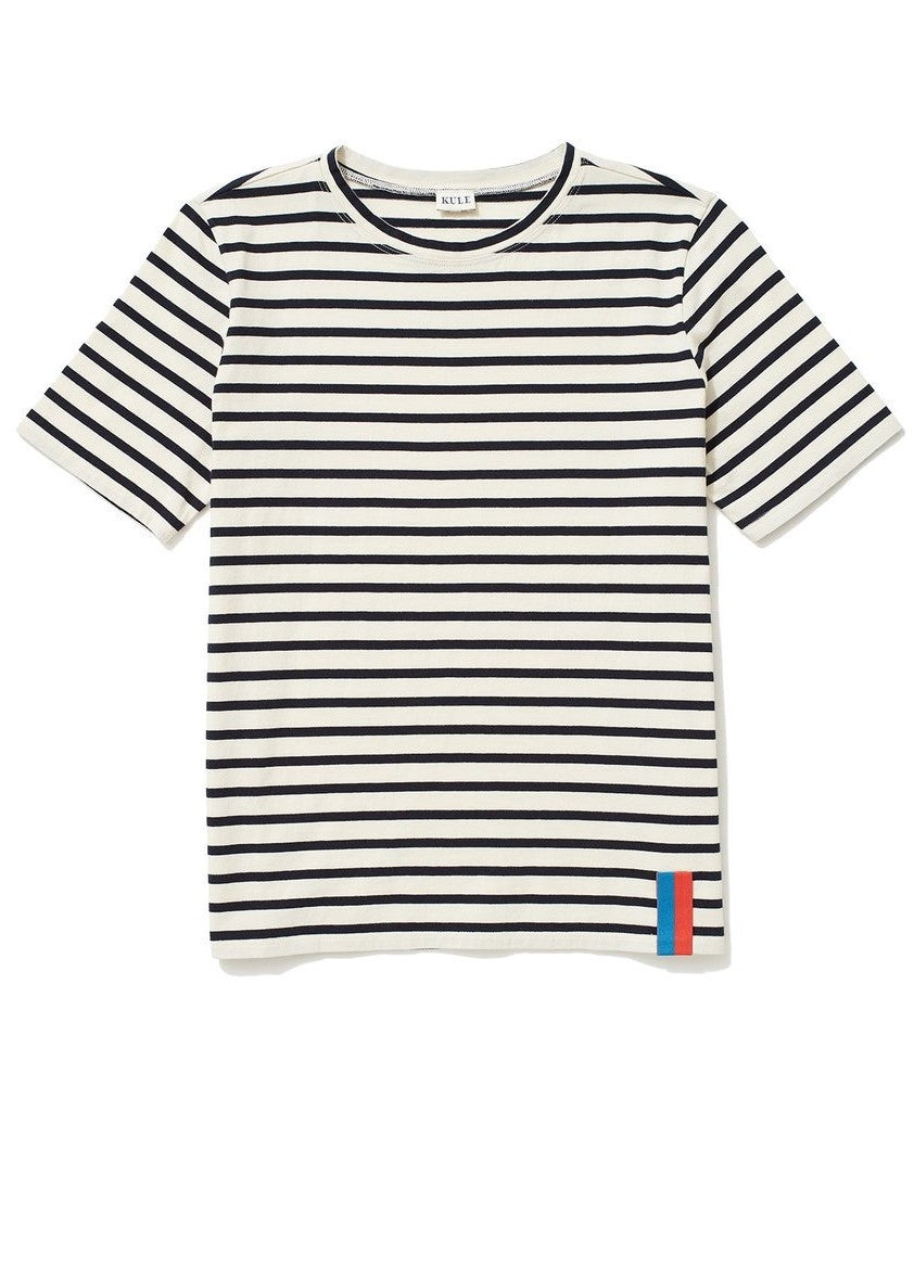 Kule modern short sleeve stripe tee cream navy