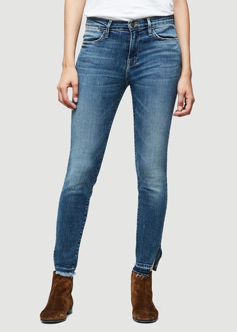 Frame le high skinny raw traingle cut revere