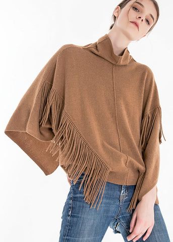 Zynni Fringe Poncho Knit Top in toast 26