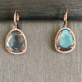 Rocks with Soul Labradorite Single Slice Drops Rose Gold