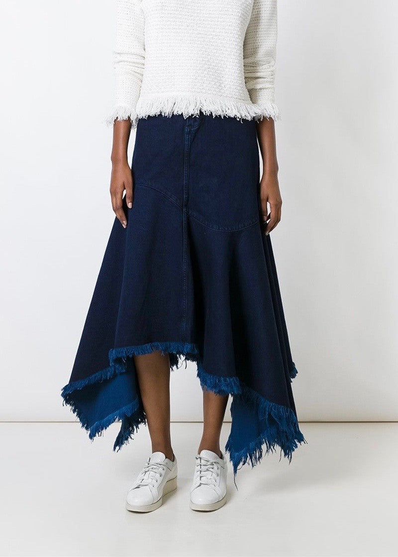 Marques Almeida denim floor length full skirt indigo