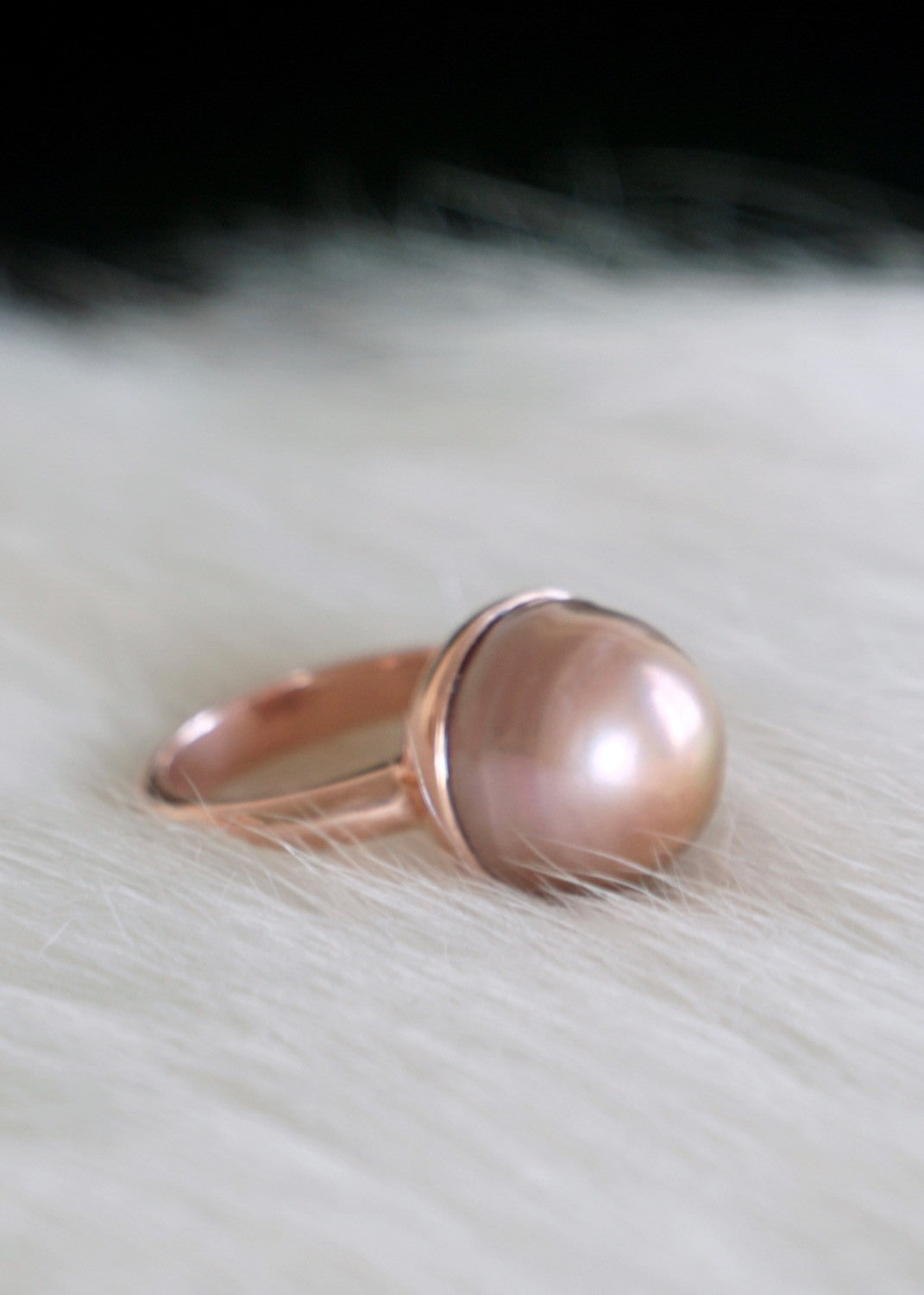 Designs by Alina metallic rose pearl ring, 14K rose gold