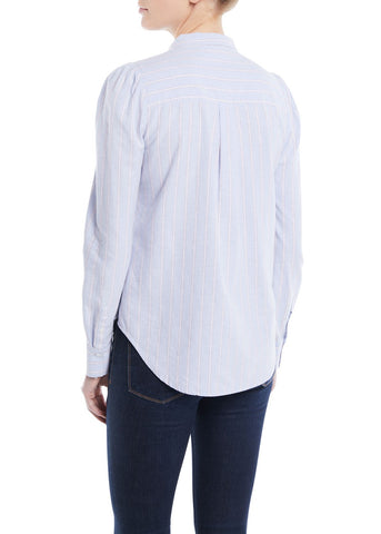 Veronica Beard Dunbar longsleeve shirt in blue white stripe
