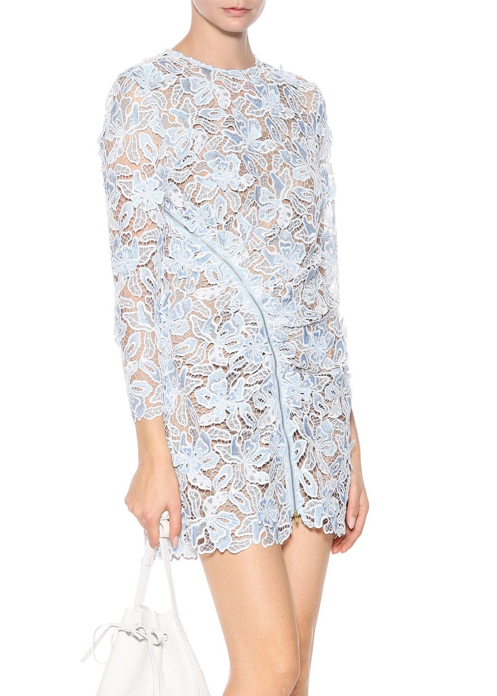 Self Portrait 3d lily mini dress blue white
