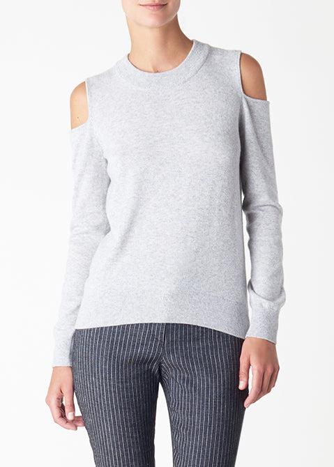 Veronica Beard central cold shoulder sweater fog