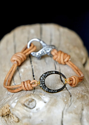 Designs by Alina pave-o-petit diamond oval on leather bracelet