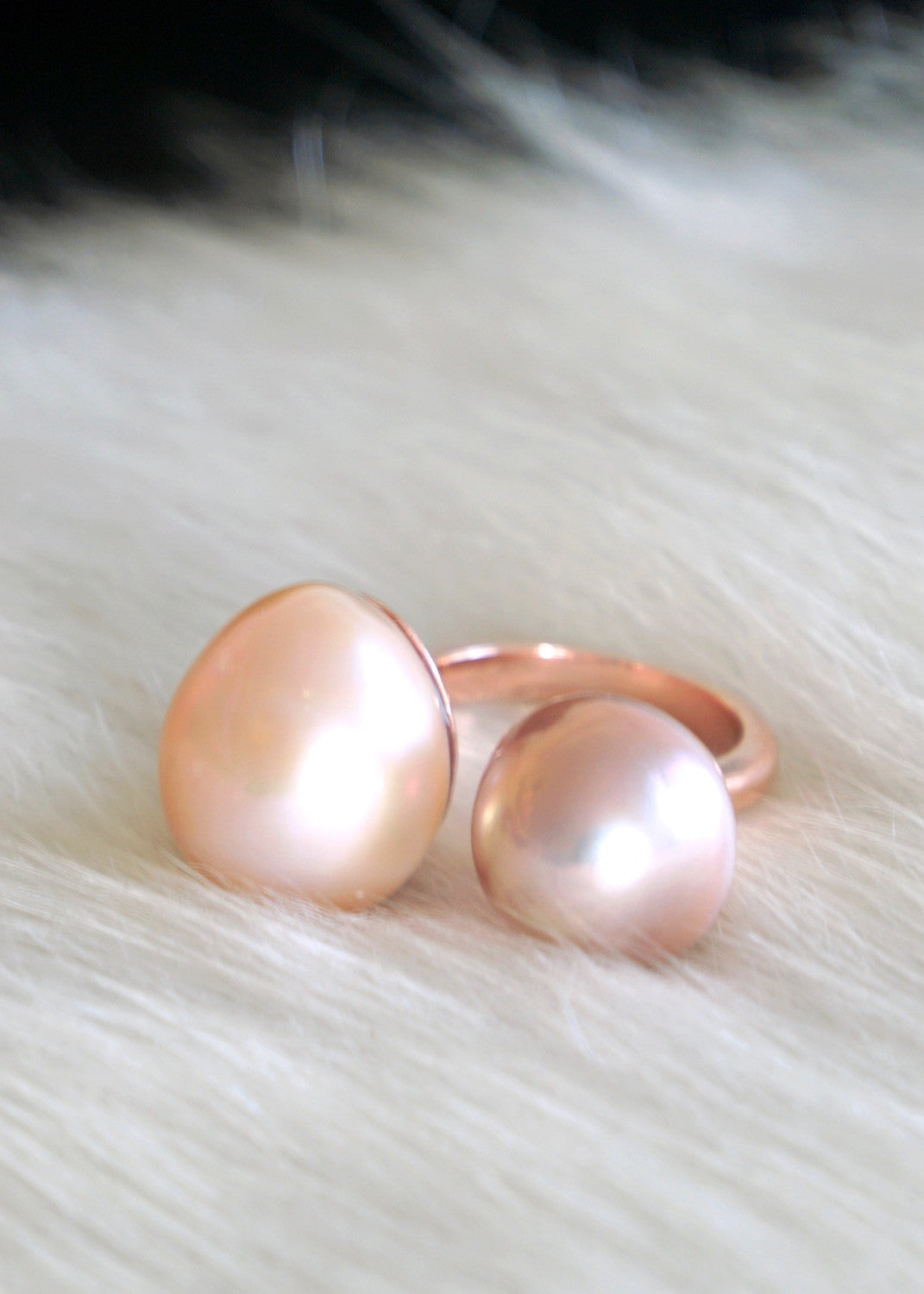 Designs by Alina perfect duo ring ballet slippers- baroque pearls, 14K rose gold