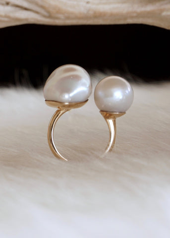 Designs by Alina perfect duo white pearl ring- 14k gold