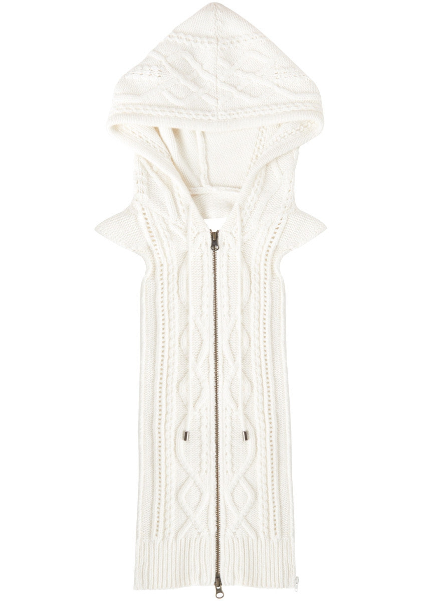 Veronica Beard embroidered cable knit hoodie dickey cream