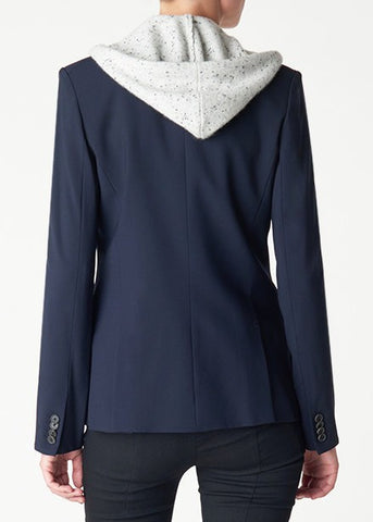 Veronica Beard navy classic jacket with speckled grey hoodie dickey
