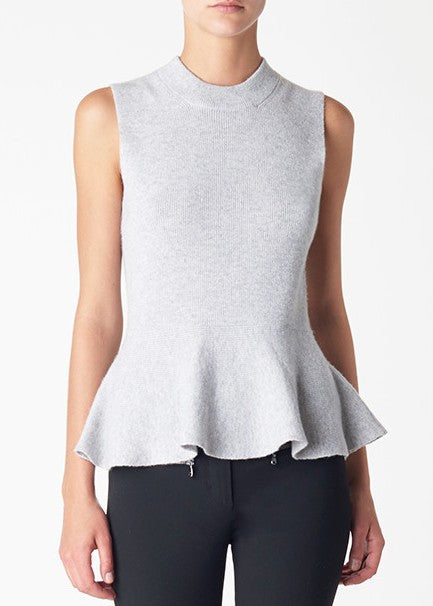 Veronica Beard billie sleeveless peplum sweater grey