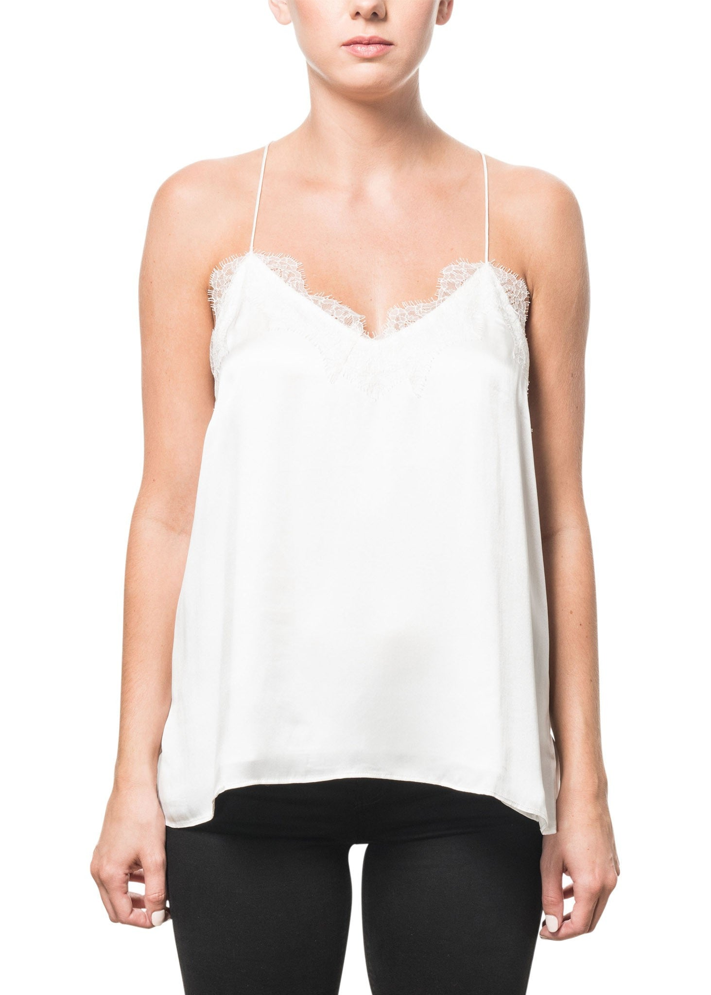 Cami NYC racer charmeuse cami white