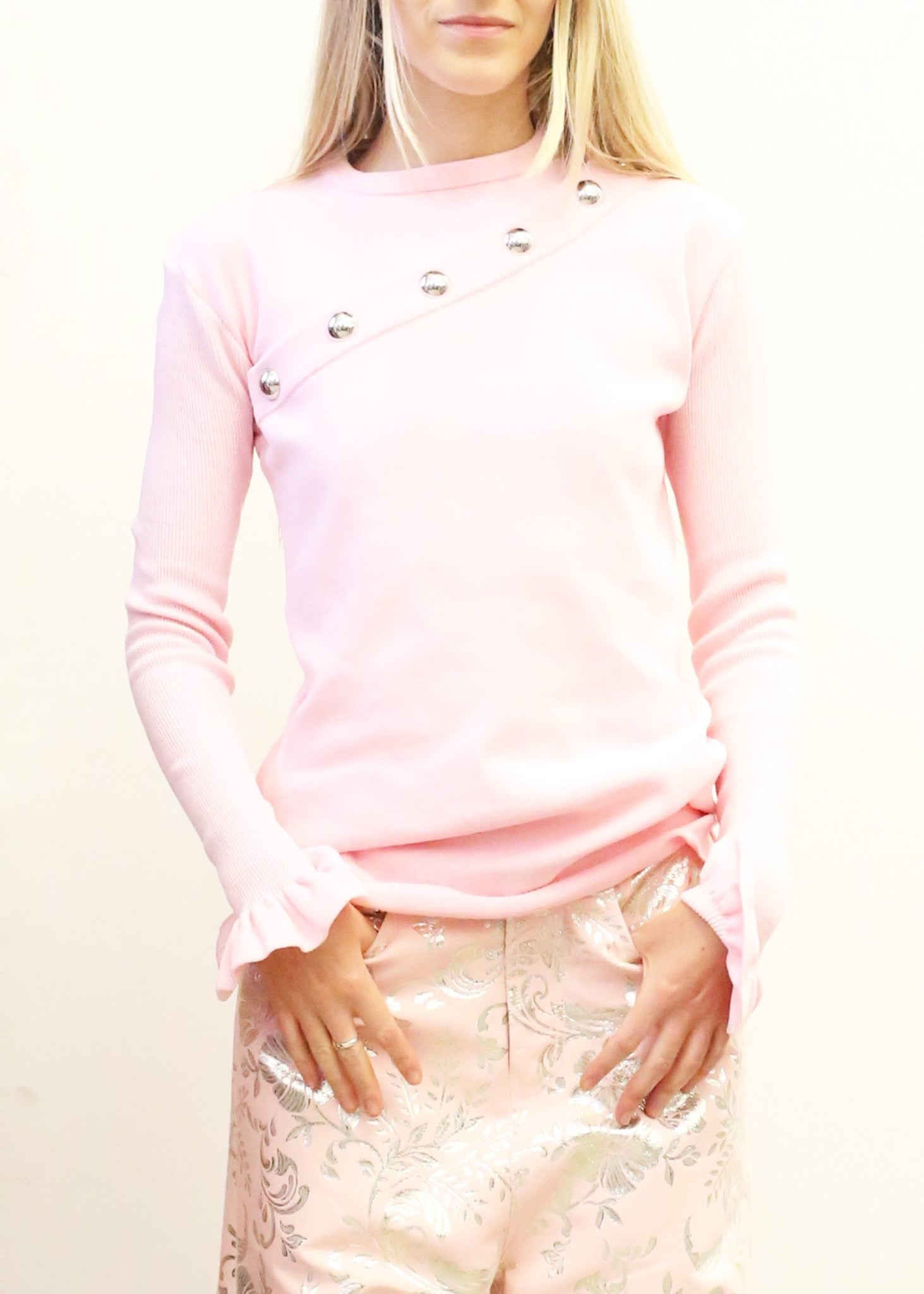 Marques Almeida snap sweater pink