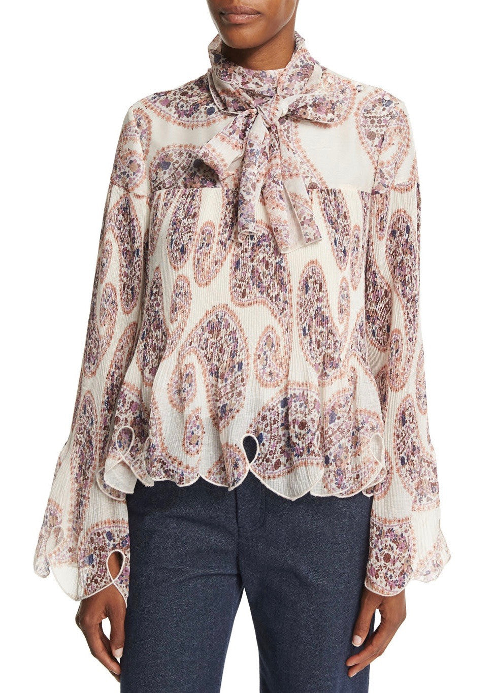 See by Chloe paisley blouse white