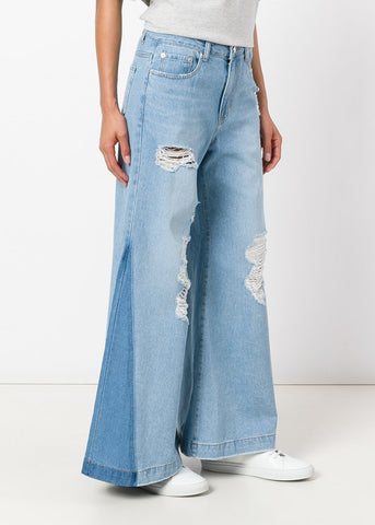 SJYP Destroyed Wide Jeans Light Blue