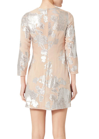 Self Portrait metallic fil coupe mini dress blush pink