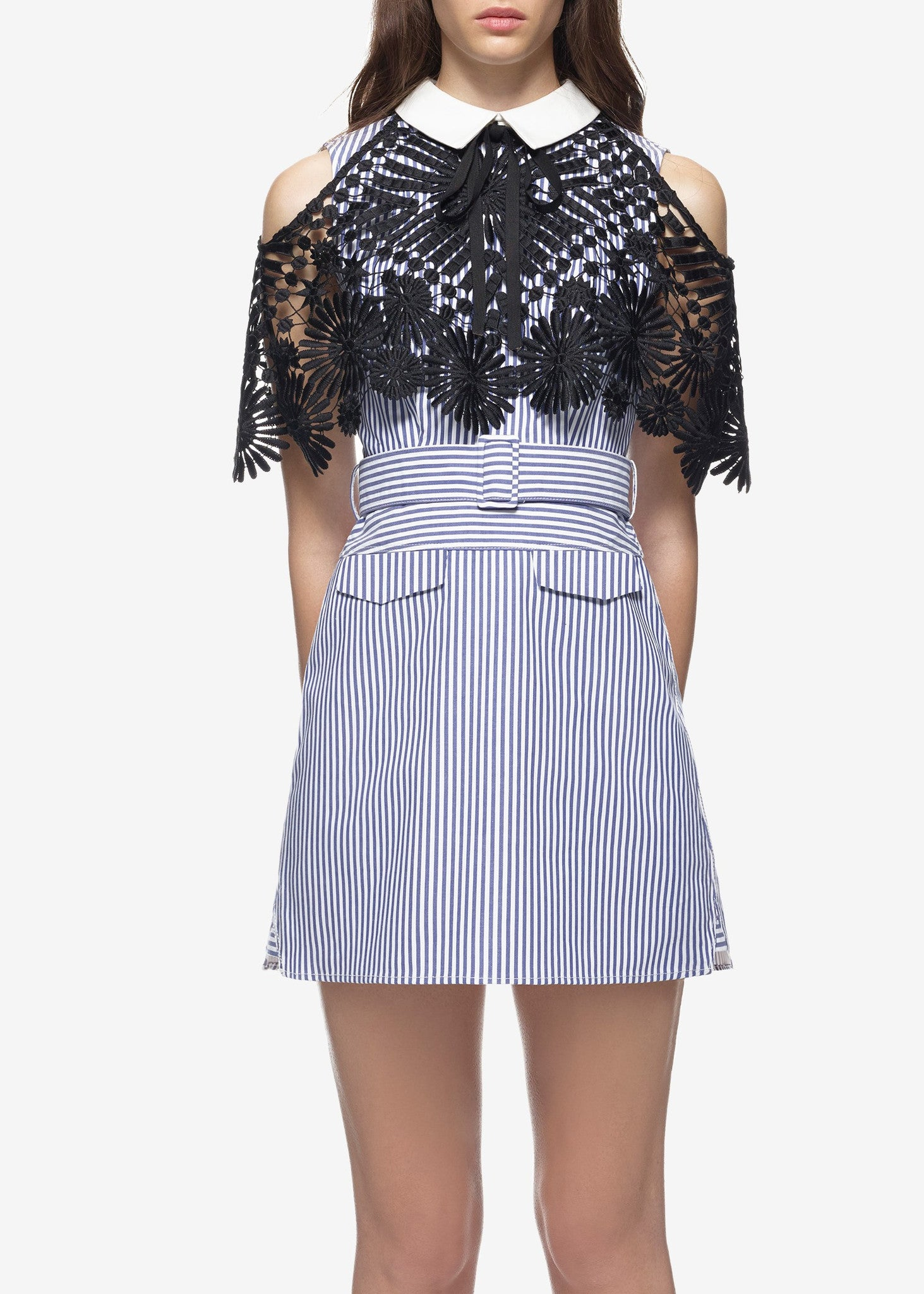 Self Portrait shirting lace cape mini dress navy