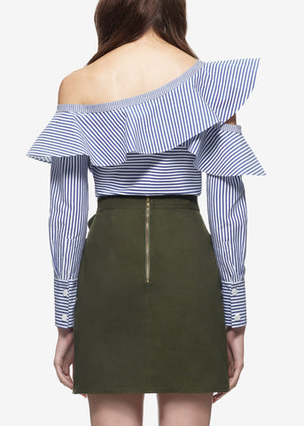 Self Portrait striped frill shirt navy