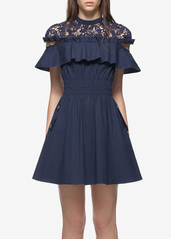 Self Portrait hudson mini dress navy