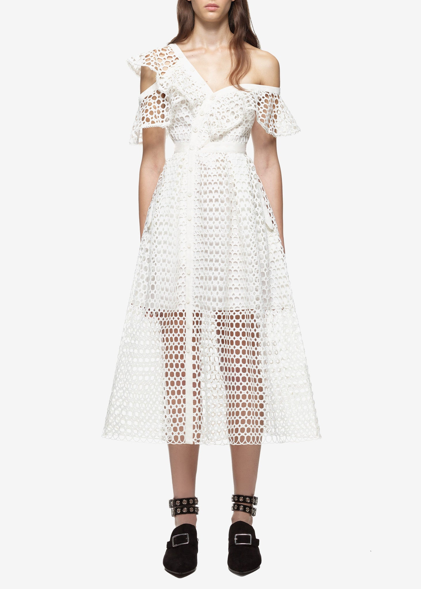 Self Portrait lace frill midi dress white
