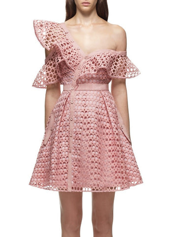Self Portrait lace frill mini dress pink