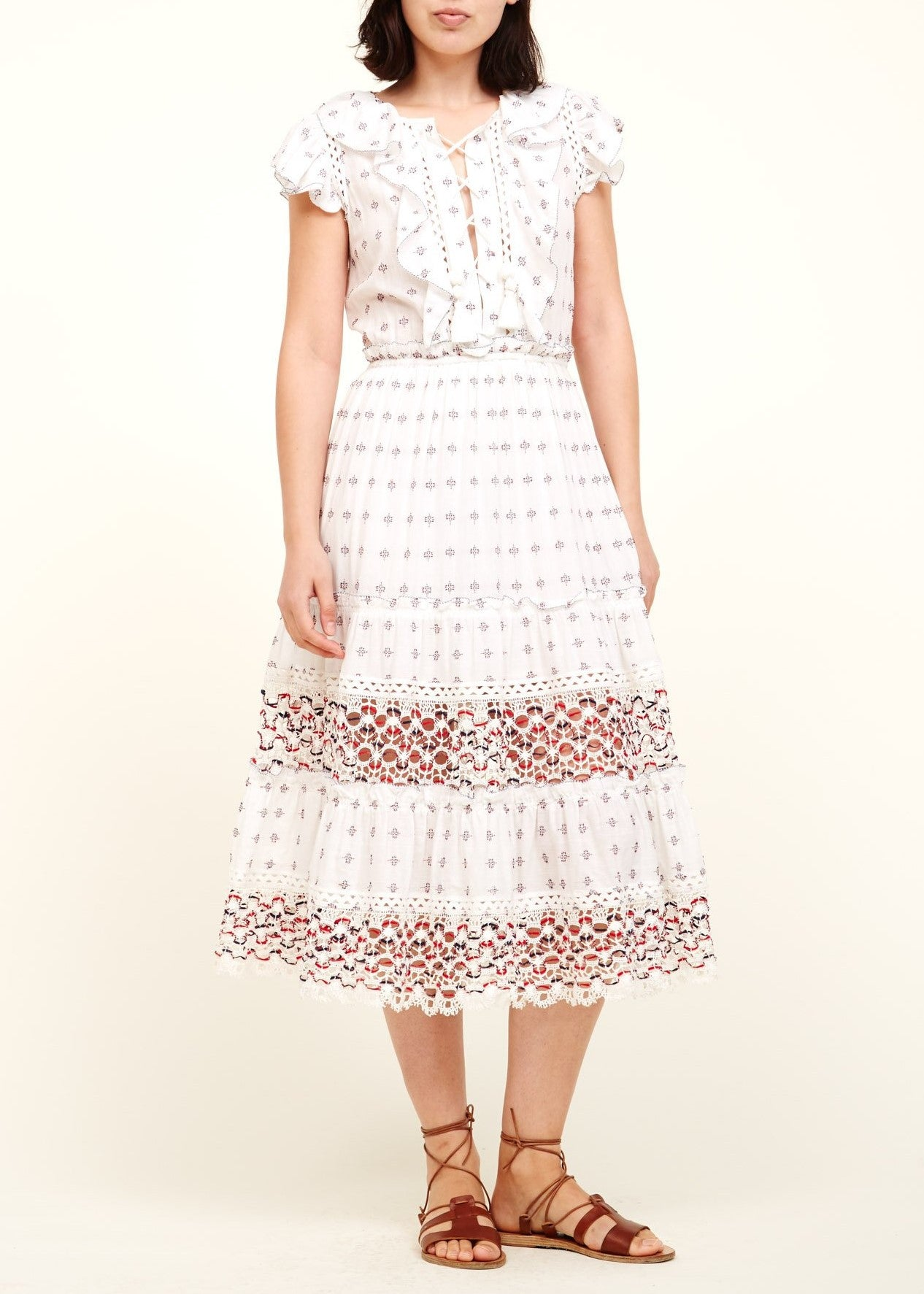 Sea colette embroidery flutter midi dress white multi