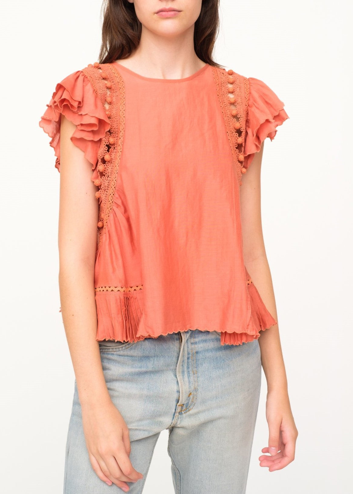 Sea khloe crochet pom pom top salmon