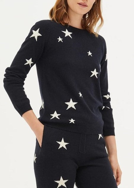 Chinti and Parker Multicolored Star sweater in navy