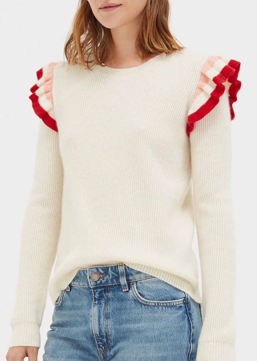 Chinti and Parker Stripe frill sweater in creme rouge