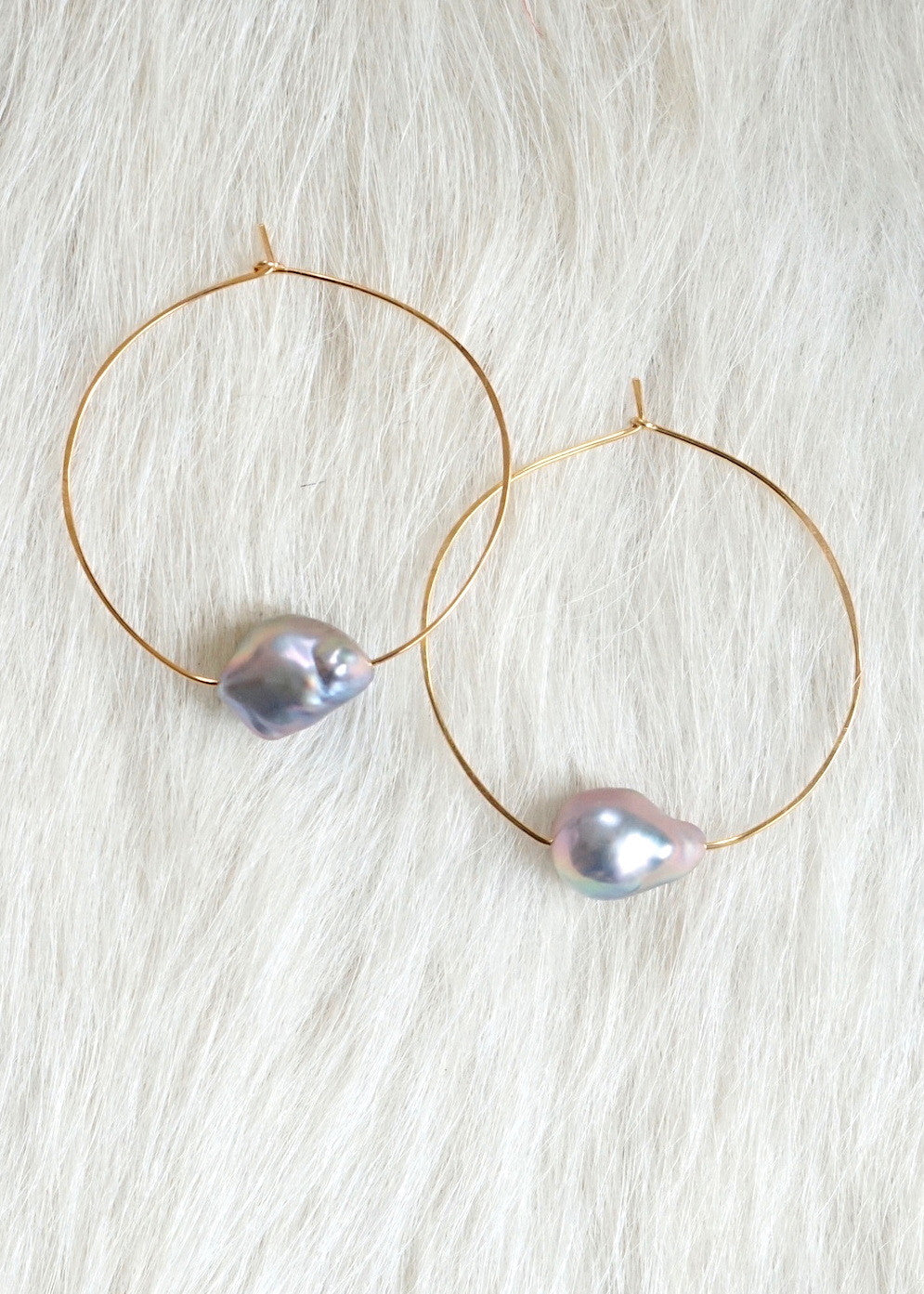Designs by Alina Saturn baroque pearl earrings 14K pink gold