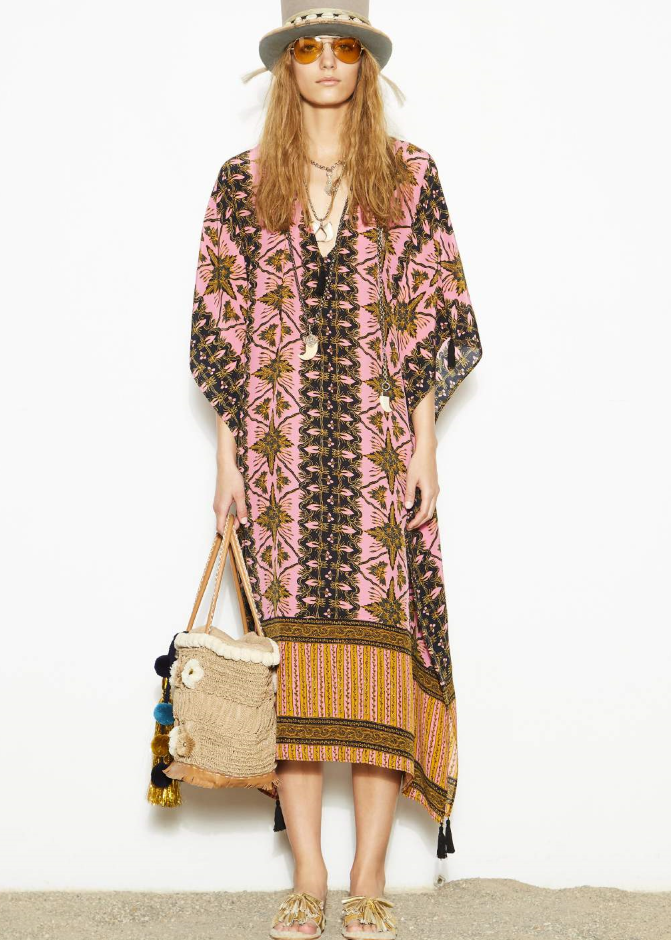 Figue eliza kaftan in gypsy batik lotus pink