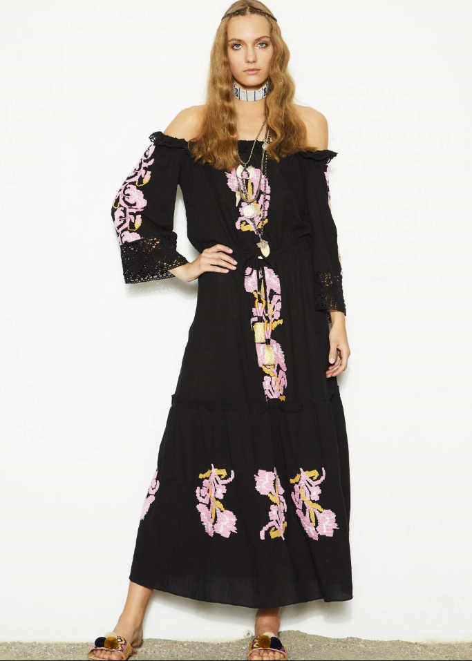 Figue noelle maxi dress in oynx black